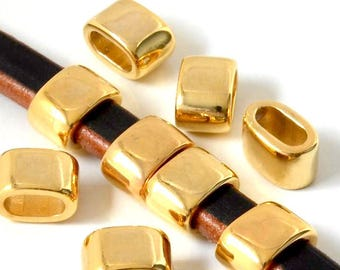 Metal ZAMAK passing - Tube oval - round, half round (hole 9.5x5mm) - Gold - PPMCD16OR120 leather