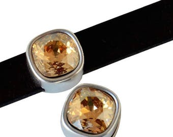 Bead loop Element - for 10mm flat leather - silver and Swarovski Golden Shadow