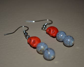 Earrings pearls and skull - grey and Red