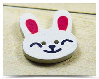 1/2/4/8 Lovely Rabbit Smile Shape Two Hole Wooden Buttons 20mm x17mm face design cartoon diy clothes accessories scrapbook
