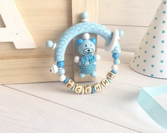 """Personalized rattle with name of """"Mishki-mi-mi-mishki-collection"""",natural wood, 100% non-toxic,best Gifts for newborn babies, Latin alphabet"""