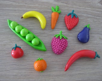 Fruits and vegetables made of polymer clay magnets