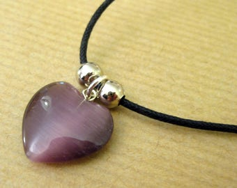 Purple Heart & waxed cotton necklace