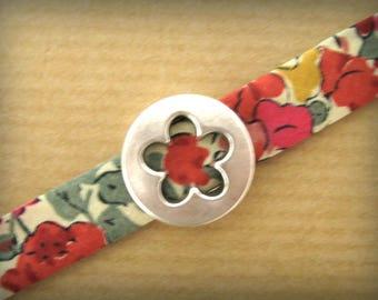 Ribbon Liberty Claire Aude red & Flower bracelet