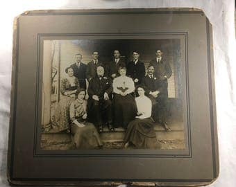 """Antique photograph 14 x 12"""", old family photograph, Gibson Girl Era, frameable, unknown local"""