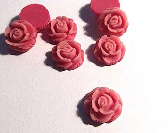 old rose flower resin cabochon
