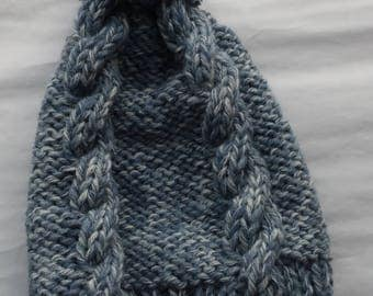 Blue mixed cabled Hat
