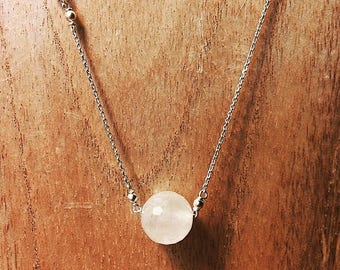 long necklace, 925 Silver and pink quartz ball