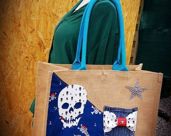 CANVAS tote bag XL burlap skull