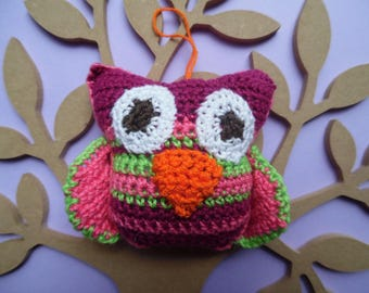 Soft toy colourful crochet OWL