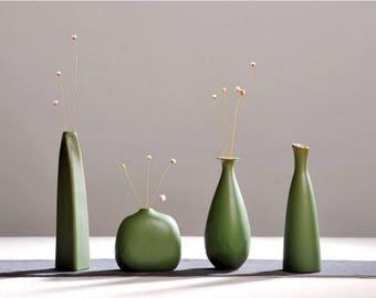 Green Porcelain Modern Vase, Aloe Vera Style Vases, Modern Vase Set Of 4,