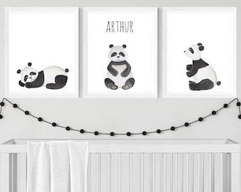 Set of 3 A4 Personalised Watercolour Panda Prints - Nursery Prints