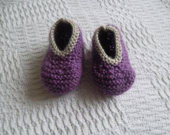 booties knit in violet /lin birth