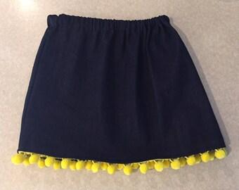 Girls denim gathered waist skirt with pompom details - size 4