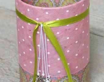 Pencil holder (No. 153) pink / green
