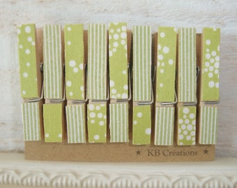 9 MINI clothespins decorated linen (No. 41) Green