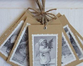 Set of 10 labels Christmas (n ° 2) Vintage / kraft