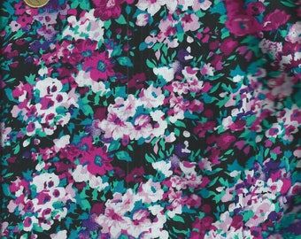 FLORAL fabric: Fuchsia and flowers rosesfFeuillage black background (50 x 50 cm) - 100% cotton