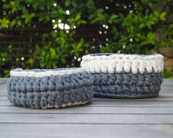 Handmade Cotton Knit Baskets Set