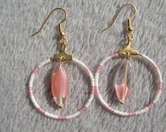Pink and white hoop earrings