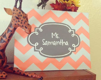 Personalized Chevron Canvas Name Painting