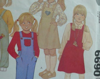 Girls Jumper and Overalls Sewing Pattern  - Vintage McCalls 6690 (circa 1979) - Girl's Size 4