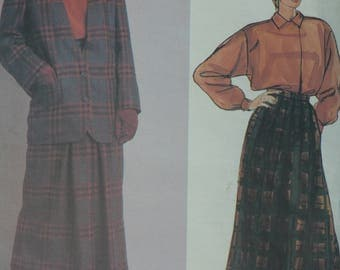 Women's, Misses' Jacket, Skirt, Blouse Pattern, Vintage Vogue 1474 by American Designer Perry Ellis, Size 8 - CoPA Pattern