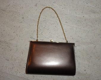Vintage Bronze Handbag Clutch Himelhoch's Detroit Faux Leather Purse