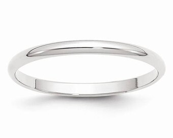 New 14K Solid White Gold 2mm Men's and Women's Wedding Band Ring Sizes 4-14. Solid 14k White Gold, Made in the U.S.A.