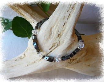 Bracelet, hematite and Crystal beads