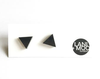 Triangle Black Resin Stud Statement Earrings!