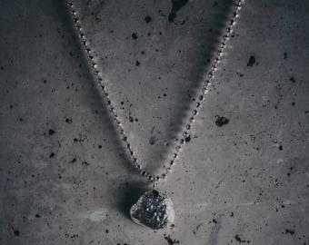Silver nugget bold necklace