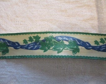 Ivy leaf 20 m blue green cream Ribbon