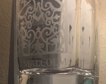 Outlander, A. Malcolm Print Shop Sign Etched Whiskey Glass-Corksickle
