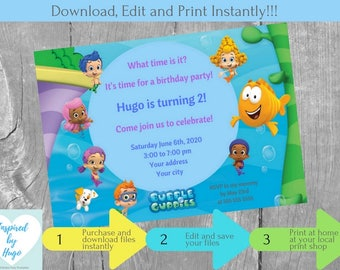 Boy Bubble Guppies Birthday Party Invitation - Bubble Guppies Birthday  Invite - Bubble Guppies Party, INSTANT DOWNLOAD, Editable Invitation