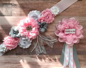 Flower Sash, Bridal Sash, Flower Girl Sash,Pregnancy, Maternity Pink and Gray Sash, Baby Shower, Gender Reveal Party Photo Prop Baby Gift