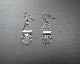 Earring ethnic worked silver aged