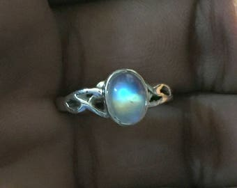 2.9Gm Natural Rainbow Moonstone Ring Sterling Silver 925 Solid Sterling Silver Ring Flashing Rainbow Ring Flashing Moonstone Ring Size7 R08