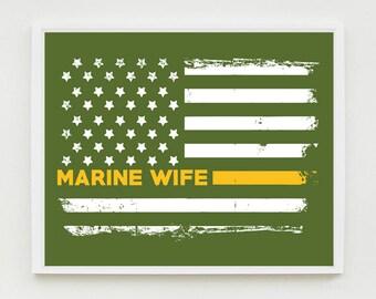 Marine Wife Art Print, Proud Wife, Military Wall Art, US Flag, Decor