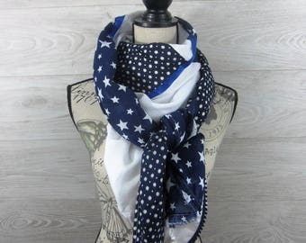 Large square scarf 140x140cm stars Navy Blue