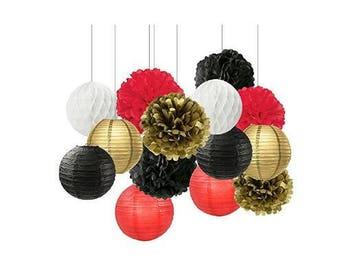 Black White Red Gold Tissue Paper Pom Pom Paper Flower Ball Decoration Paper Lantern Tissue Ball Paper Decoration  Birthday Party Decoration