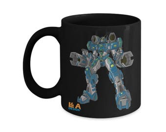 Annroid Robot Mecha Mug Handle Coffee C Ceramic Cup Overweight 11oz 15oz ounces Kitchenware Gift Present L & A Design