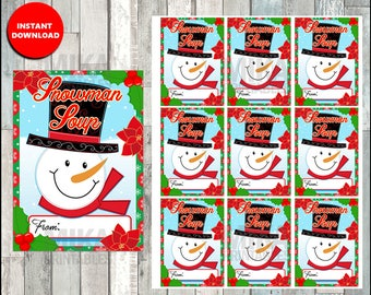 Snowman Soup Favor Tag, Printable Snowman Soup Tag, Snowman soup, Christmas Treat Tags, Instant Download, School Treats, Classroom, sticker