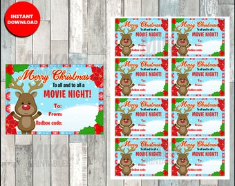 Printable Rudolph Reindeer Redbox Gift Tag, Christmas Redbox Gift Tag - Merry Christmas and to all a MOVIE NIGHT - Instant Download