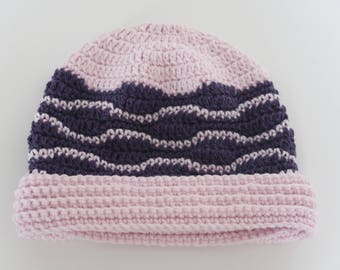 Crochet hat pattern for winter with waves  Sizes, Baby Child Teen