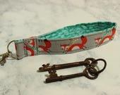Key Wristlet Fob Fox Foxes Scarf Scarves Keychain Contrasting Lining Swivel Clasp