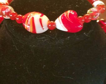 """Red and White Lampwork Beads 9 1/2"""" Bracelet"""