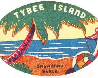 Vintage Style  Savannah Beach GA Georgia  Tybee Island  oval  Travel Decal sticker