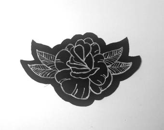 Rose and leaves paint patch