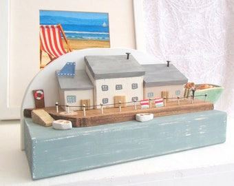 Seaside houses - 'Rowing Cottages' reclaimed wood-miniature houses-wooden house-little cottage-rustic-holiday-beach-housewarming-sea-coastal